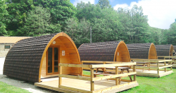 Pods with decking - landscape