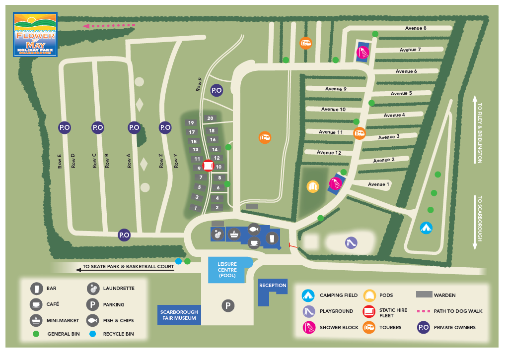 map of flower of may holiday park in scarborough