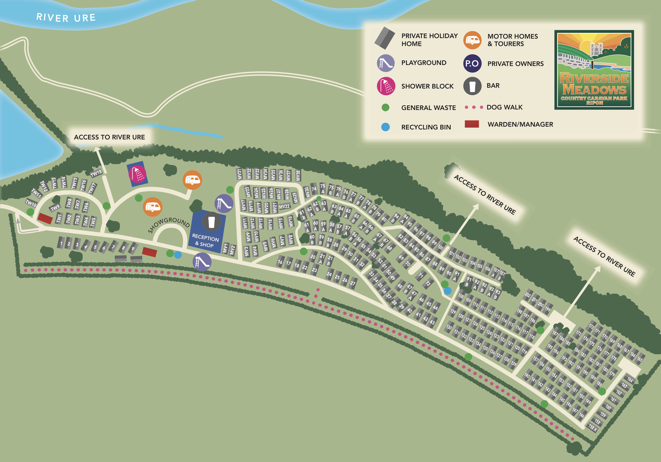 Take a look at our handy holiday park map will guide you through key areas  of the park  you can even download a copy to print off at home if you like. Map of Riverside Meadows Holiday Park   Flower of May